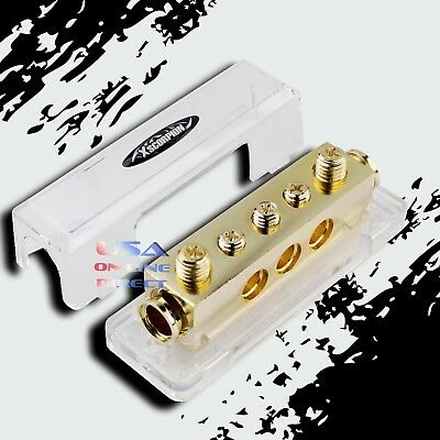 GOLD Ground Distribution Block Two 0/2 Gauge Wire 12v Inputs Three 4ga output US