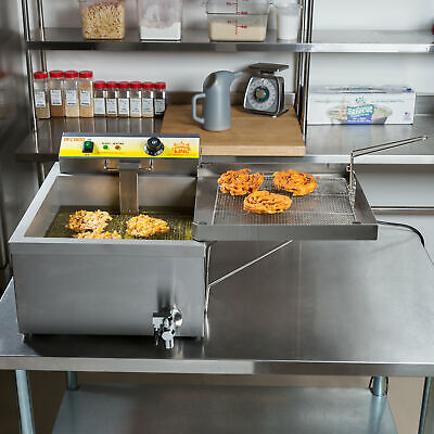 25 Lb. Electric Countertop Stainless Steel Funnel Cake Deep Fryer - 120v