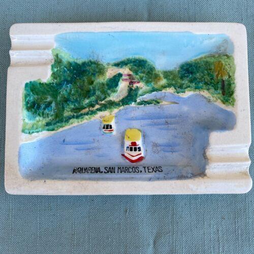 Aquarena Springs San Marcos TX Vintage Ashtray Japan Souvenir Glass Bottom Boat