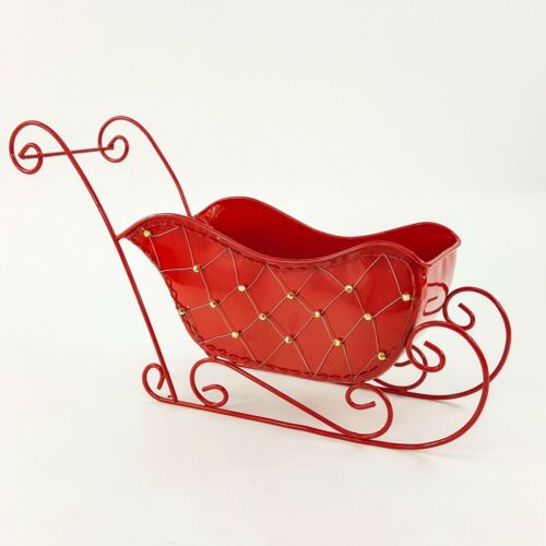 "Red Metal Sleigh Sled w Beads Planter Card Holder Table Christmas Decor 17 x 10"""