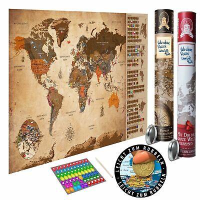 Rubbel Weltkarte zum rubbeln Scratch Off Rubbelposter Poster Landkarte ENG