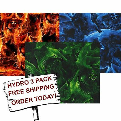 Hydrographic Film Water Transfer Printing Film Hydro Dip Fire Skull Hydro 3 Pack