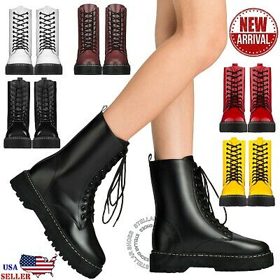 New Women's Lace Up Combat Boots Low Chunky Heel Military High Ankle Boots Heel Women Ankle Boot