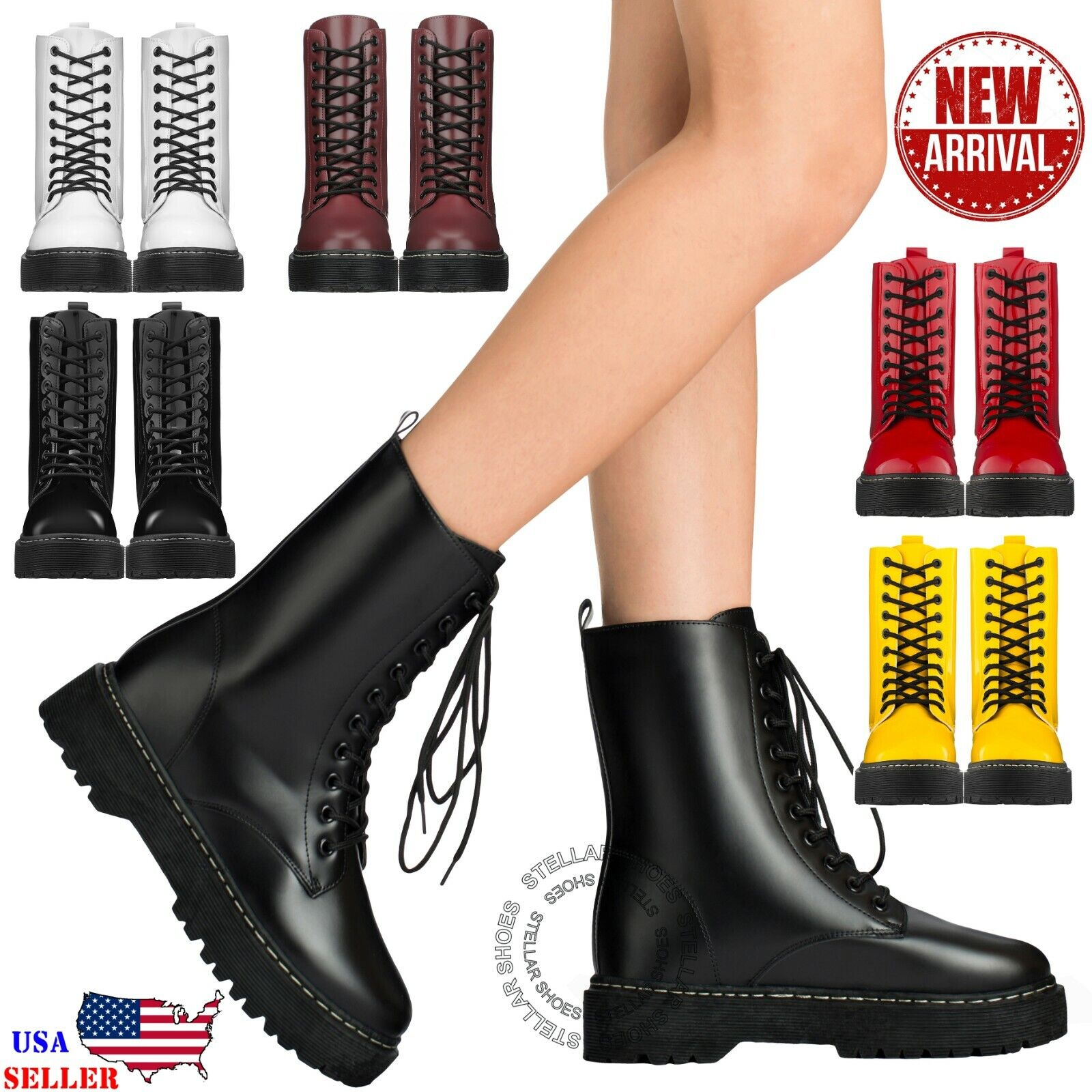 New Women's Lace Up Combat Boots Low Chunky Heel Military