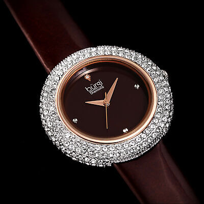 Women's Burgi BUR199BR Diamond Marker Swarovski Bezel Brown Leather Strap Watch
