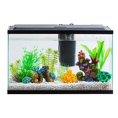 10 Gallon Aquarium Kit Set Fish Tank Led Light Hood Filter Clear Fresh Water New