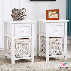 Delicieux Set Of 2 White Nightstand End Table Bedside Table With Wicker Storage Wood