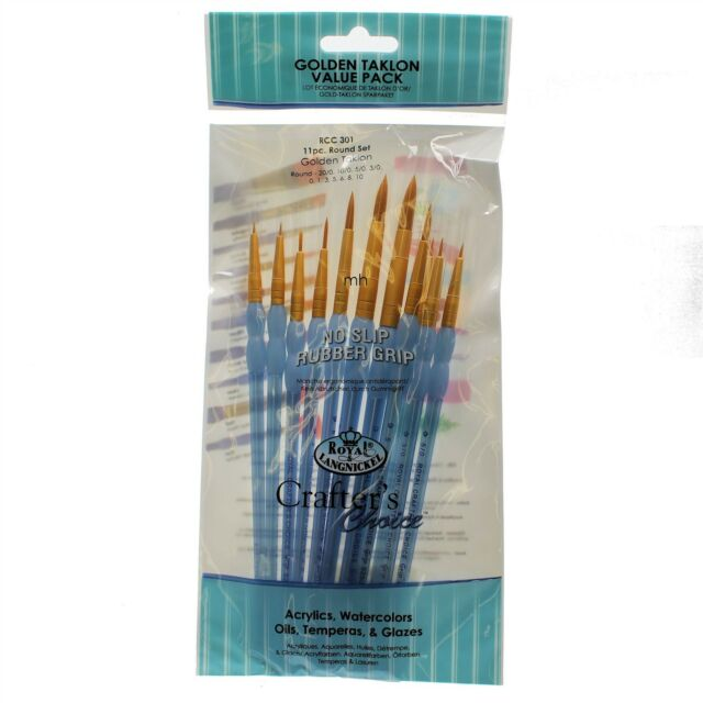RCC-301 Crafter choice artists paint brush Golden taklon Value pack 11pc round