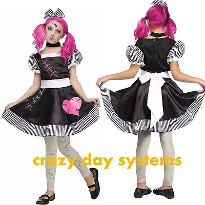 GIRLS CHILD BROKEN ZOMBIE BABY RAG DOLL HALLOWEEN DRESS COSTUME AND TIGHTS S 4/6 (Zombie Baby Doll Kostüm)