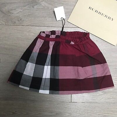 BURBERRY skirt Girls 9 months RRP £85 Burgandy Pink Burberry Check 100%Genuine