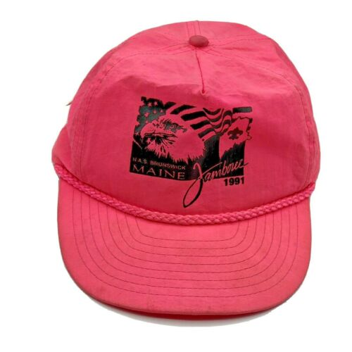 1991 Naval Air Station Brunswick Maine Jamboree Pink Adjustable Hat Boy Scouts