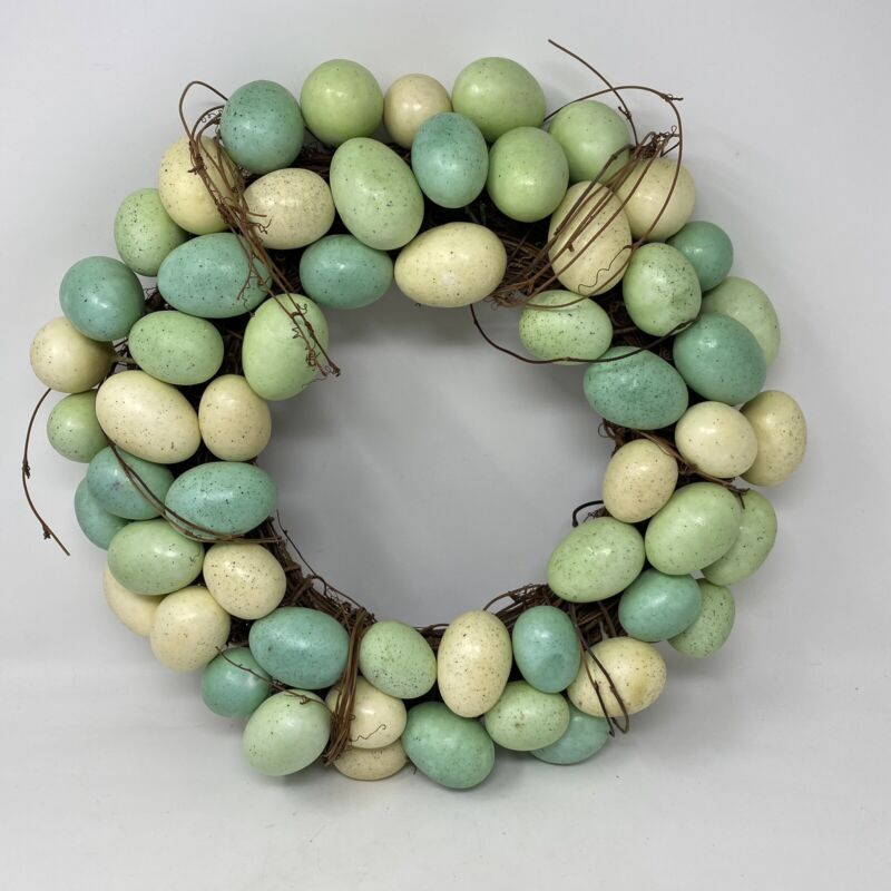 """Farmhouse Turquoise Green Speckled Robin Eggs 16"""" Grapevine Wreath Easter"""