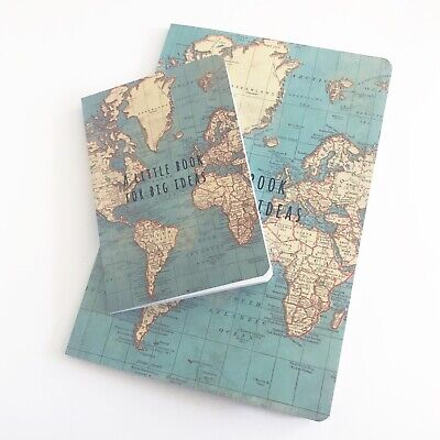 Sass & Belle World Map Vintage Travel Notebook Mini Journal Sketchbook - 2 Sizes