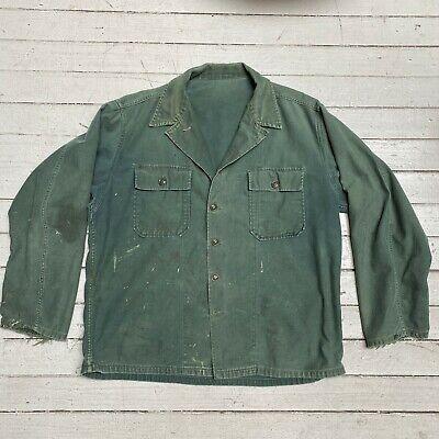 VTG 1950s Korea War US Army Marines HBT Field Shirt Distressed Militaria LG