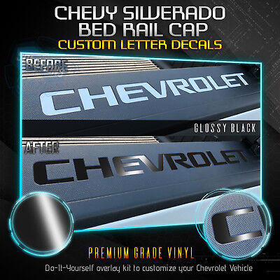 Vinyl Bed Rail - Bed Rail Cap Vinyl Decal Insert Fit 2014-2018 Chevrolet Silverado - Glossy Matte