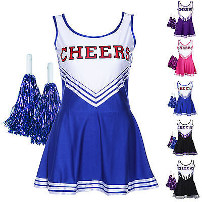 High School Musical Cheer Girl Cheerleader Uniform Costume Outfit w/ Pompoms Pro - Cheerleader Dress Up Costume