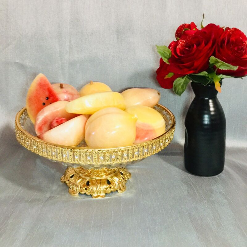 Vintage Antique 9 Pc Alabaster Marble Fruit: Watermelon Peach With Pit Banana