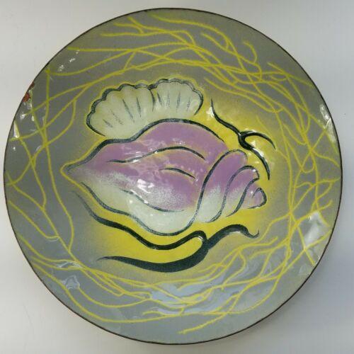 Signed FRANK LEE Modern Enamel Copper Art Plate, Provincetown, MCM
