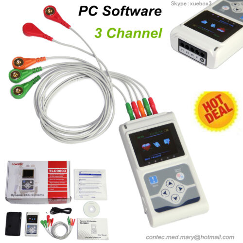 USA Fedex 3 Channel 24 hours ECG/EKG Holter Monitor System USB Software,CONTEC