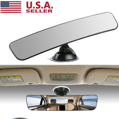 Universal Rear View Mirror Glass Suction Cup Stick On Interior Wide Car Truck US