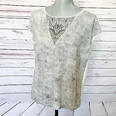 ZARA Boxy Reptile Snake Print Blouse Top Size M Gray & White High Low Sleeveless
