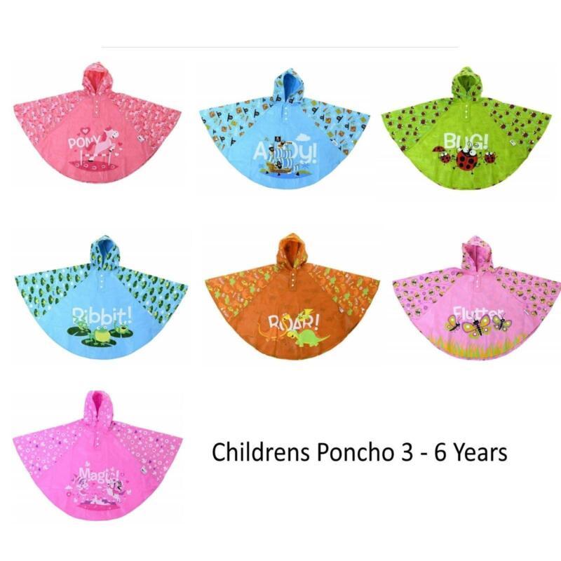 Promo Bugzz @ Soake PVC Poncho Waterproof Kids Rain Cover Raincoat 3-6 Years