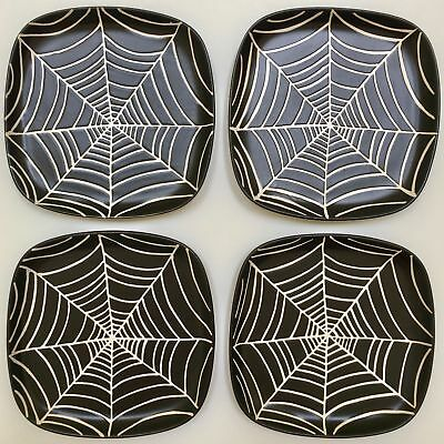 Pottery Barn Halloween SpiderwebAppetizer Plate  Black White Small Ceramic Set 4](Pottery Barn Halloween Plates)