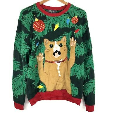Used, 33 Degrees Cat Ugly Christmas Sweater Mens Size Small Ornaments Textured Sequin for sale  Shipping to Canada
