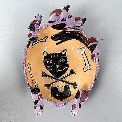 Vintage Garson - Pakele Figural Ceramic Dog Bowl - Dog Form Vessel W Cat PT
