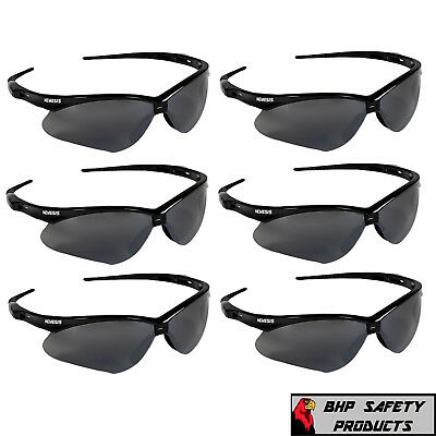 (6 PAIR) JACKSON NEMESIS SAFETY GLASSES BLACK SMOKE MIRROR LENS SUNGLASSES (Nemesis Glasses)