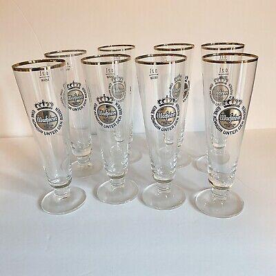 Warsteiner Beer Glasses Gold Rimmed Clear Footed Pilsner German .2 Liter Lot 8