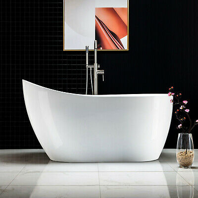 Woodbridge 54''  Freestanding Bathtub with Brushed Nickel Overflow and Drain