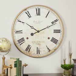 Large Wall Clock Big Vintage Paris Rustic Distressed Metal Wood 30 Roman Numeral