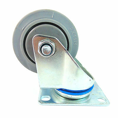 Swivel Plate Caster W 3 Non Marking Soft Gray Rubber Tpr Wheel-ctpr3ss