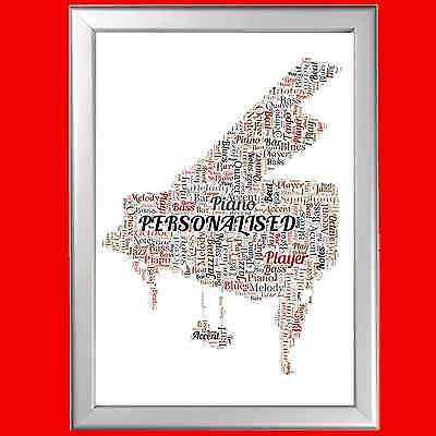 PERSONALISED GRAND PIANO WORD ART PRINT ALTERNATIVE CARD OR GIFT IDEA FOR FREIND