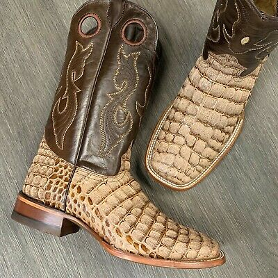 MEN'S RODEO COWBOY BOOTS COCO ALLIGATOR PRINT WESTERN SQUARE TOE BOOTS TAN COLOR Alligator Shoes For Men