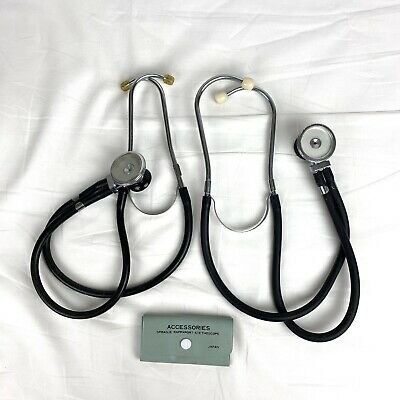 Lot Of 2 Vintage Sprague Rappaport Stethoscopes W Accessories