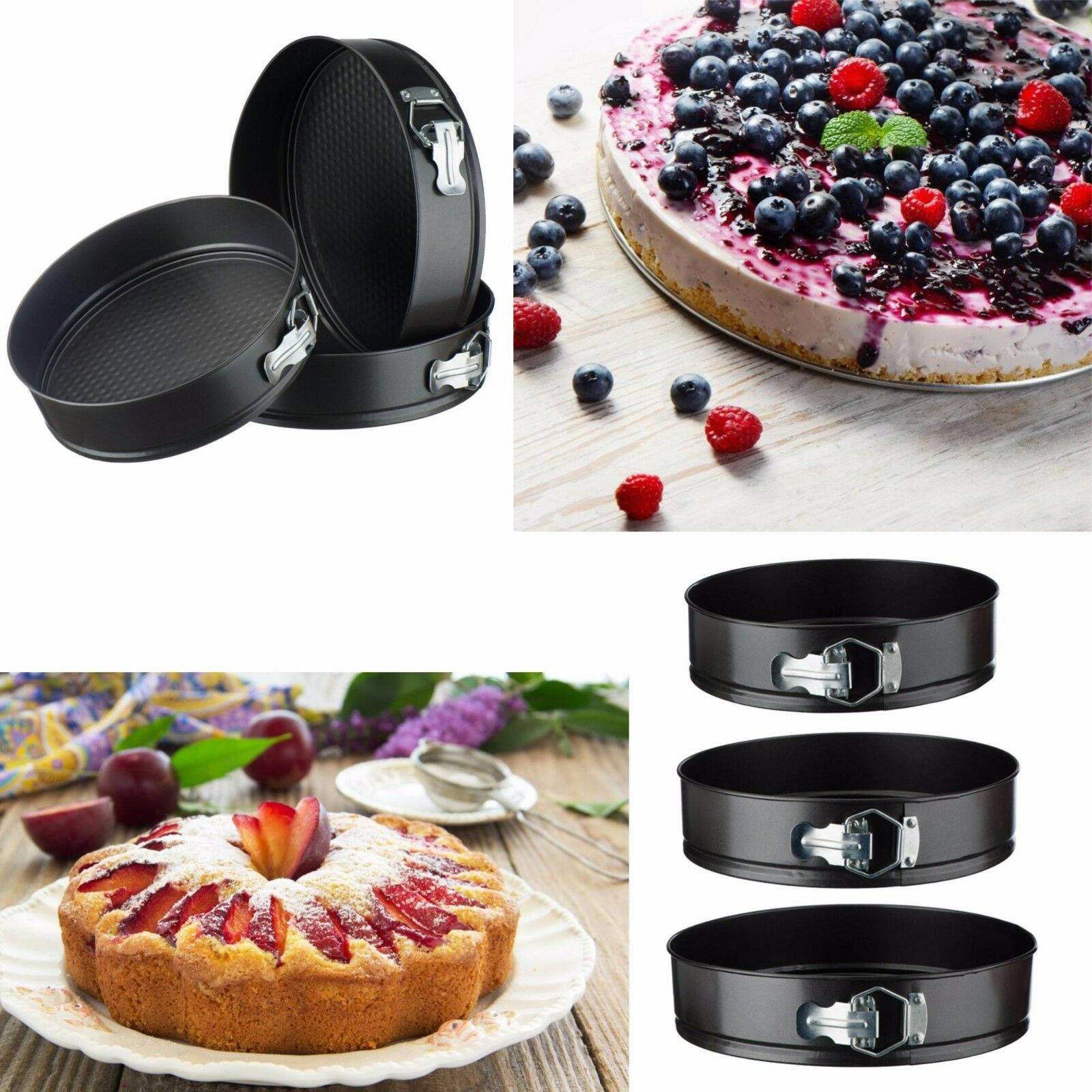 VonShef 3 pc Round Cake Pan Springform Baking Tins Set Weddi