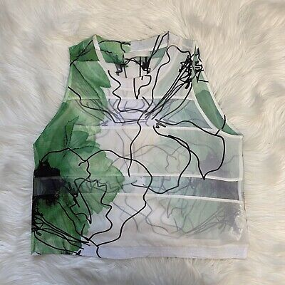 Zara Collection Womens Floral Printed Sheer Sleeveless Shirt Size L