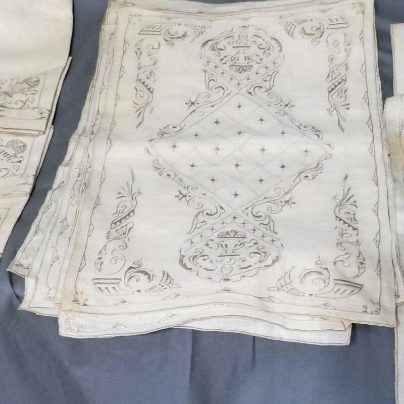 ELEGANT Antique Italian Linen Placemats Runner Hand-Embroidered Urns Birds 8+