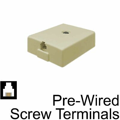 Surface Mount Box Biscuit Jack RJ11 6P4C Telephone Pre-Wired Phone -