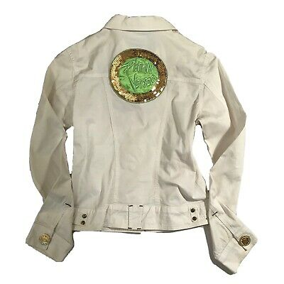 Vintage 90s Versus Versace White Jacket Neon Sequin Back Patch Gold Medusa S
