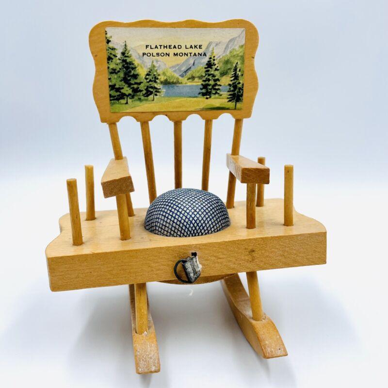 Vintage Rocking Chair Pin Cushion Measuring Tape Flathead Lake Polson Montana