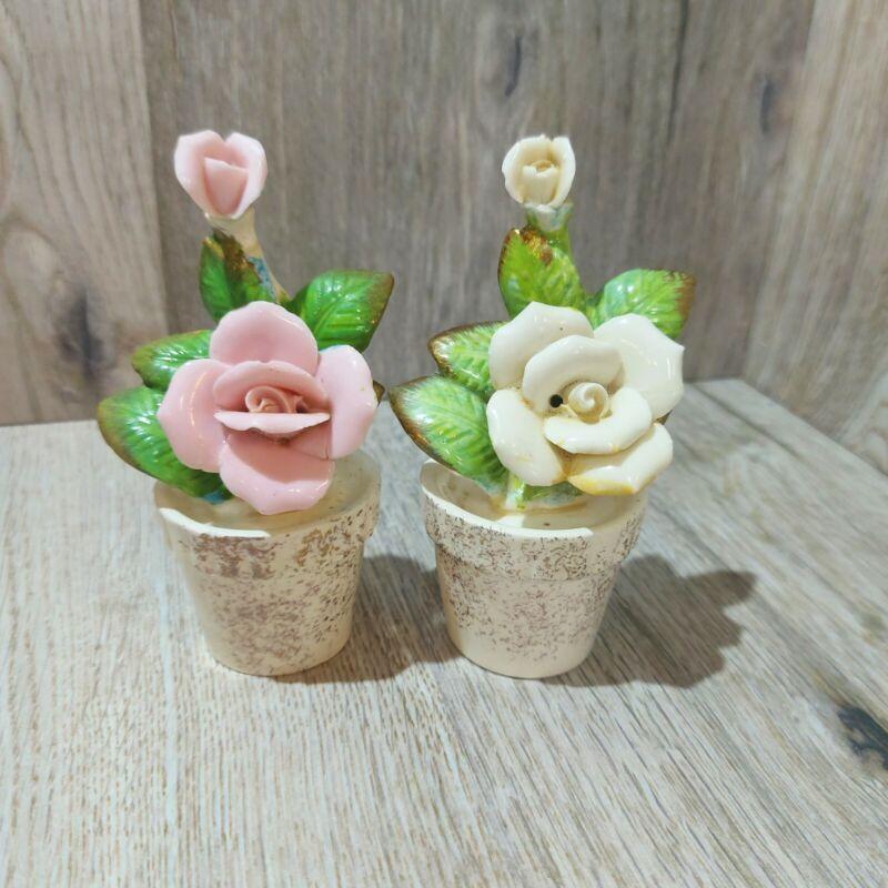 Vintage Flower Pots Salt Pepper Shakers Ceramic Yellow Pink Roses Japan