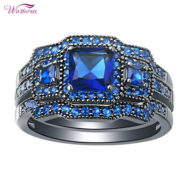 Wuziwen Wedding Engagement Ring Set For Women 1.6ct Blue Princess Cz Black 5-10