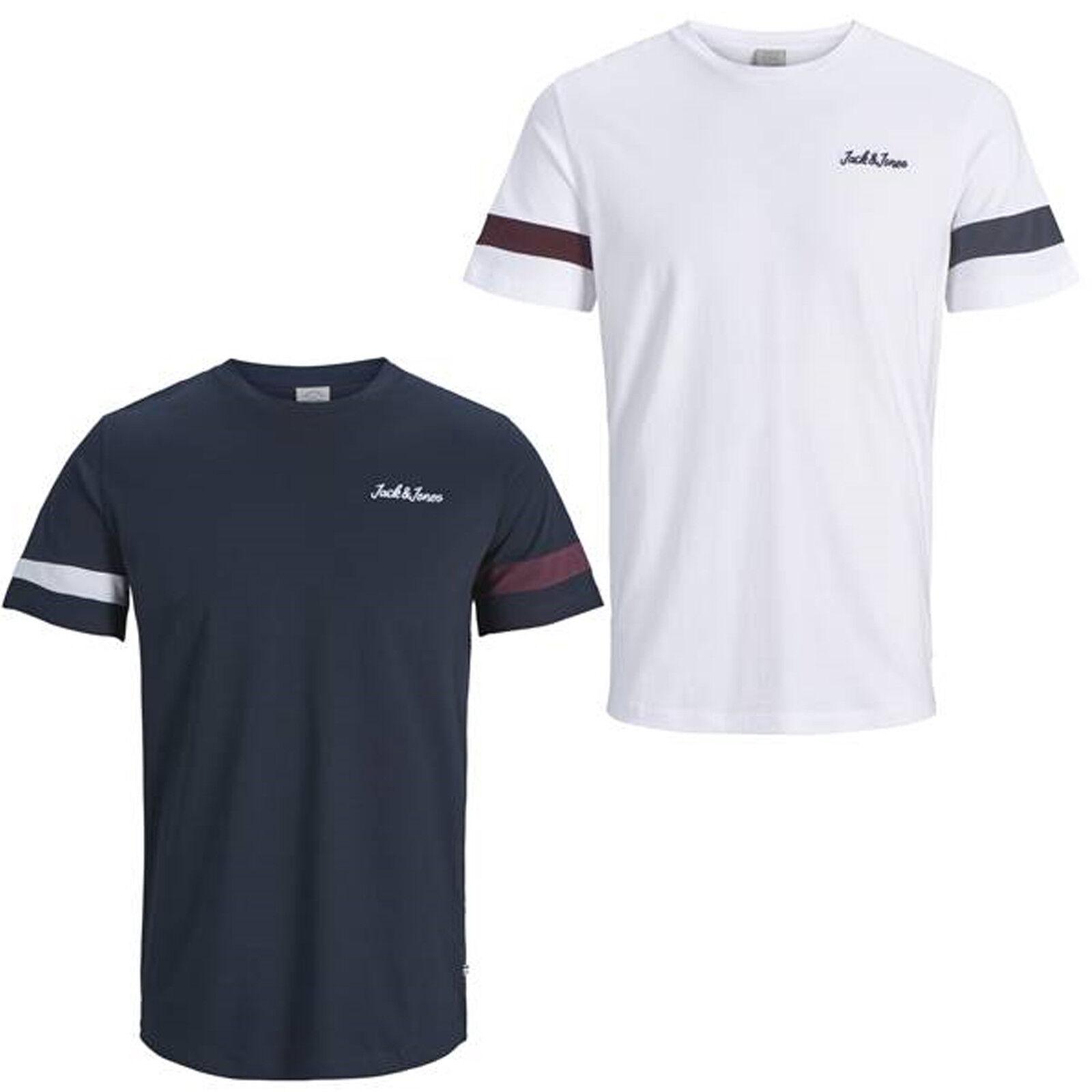 Jack /& Jones T-shirt grande girocollo a maniche corte Uomo Polo Nero//Bianco//Navy Nuovo
