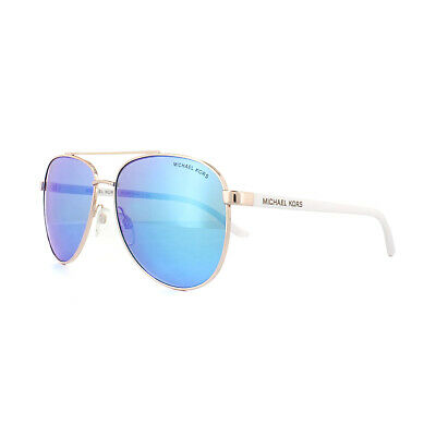 Michael Kors Sunglasses Hvar 5007 104525 Rose Gold White Blue Mirror