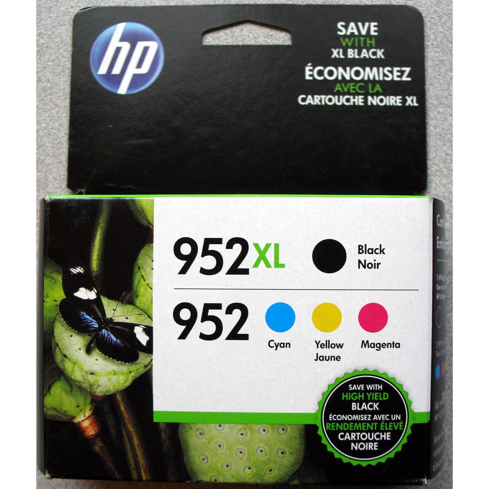 4-pack Hp Genuine 952xl Black & 952 Color Ink (retail Box...