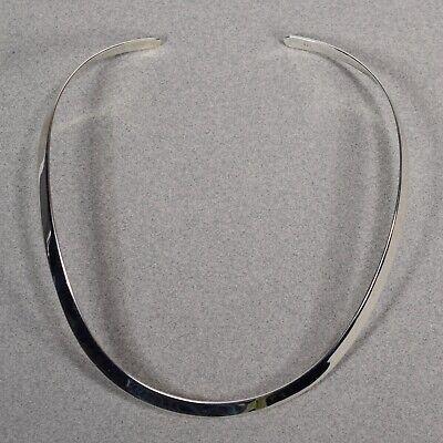 Sterling Silver 6mm V Shape Rigid Neck chocker Collar Necklace Signed -- 950 6 Mm Neck Collar