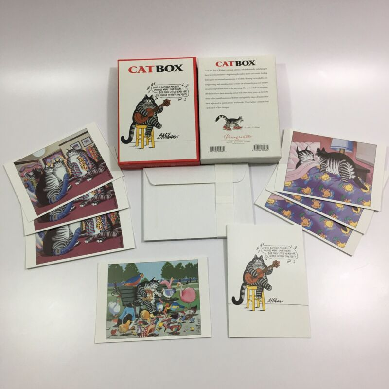open box - 8 total B Kliban Cat Greeting Cards 4 Different Designs 1999